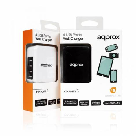 4 Ports USB Wall Charger 2.1/1.0 APPUSBWALL4PW άσπρο Approx