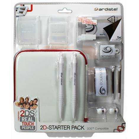 Ardistel 2D-Starter Pack Accessories Kit  for 2DS White And Red (Nintendo 2DS)