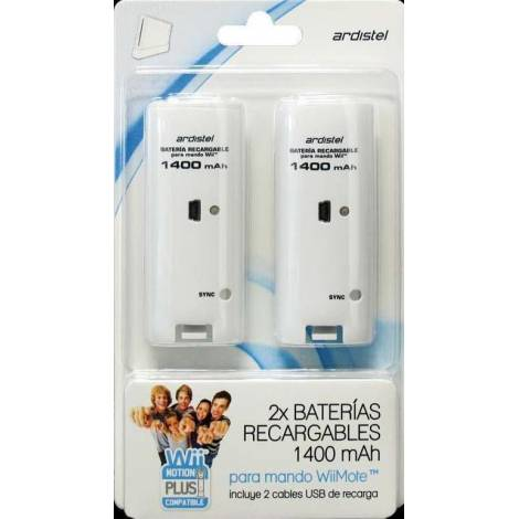 Ardistel Battery Pack x2 1400mAh For Wii-WiiU Controllers White