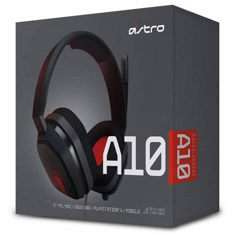 Astro A10 Gaming Headset Grey/Red Jack 3.5mm PC,PS4,Xbox One,Mobile (939-001530)