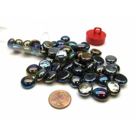 Black Glass Stones (40) 4 Tube