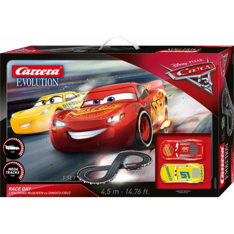 Carrera Evolution Slot 1:24 Disney Cars 3 - Race Day Lightning McQUEEN vs Dinoco Cruz (20025226)