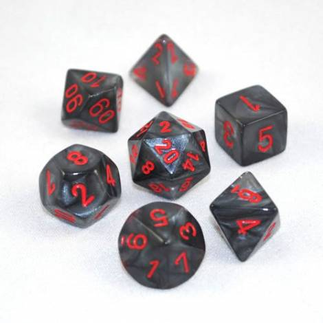CHESSEX  Black with Red  Velvet  7 dice  (CHX27478)