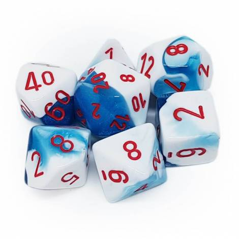 CHESSEX Astral Blue- White/Red 7 Dice Set (CHX26457)