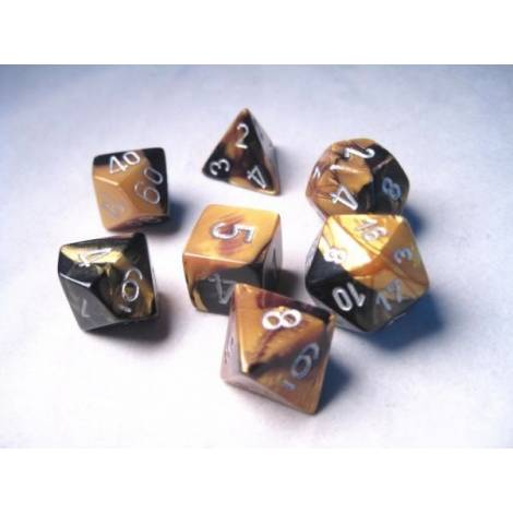 CHESSEX Black-Gold/Silver 7 dice (CHX26451)