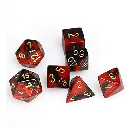 CHESSEX  Black-Red w/gold Gemini 7 dice  (CHX26433)