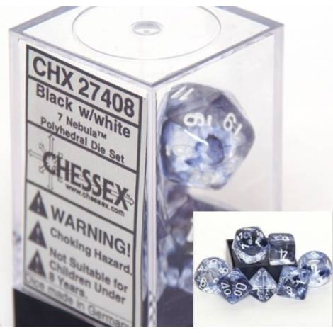 CHESSEX Black - White 7 Dice Set (CHX27408)