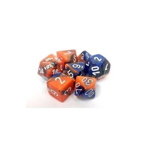CHESSEX Blue-Orange/White 7 dice (CHX26452)