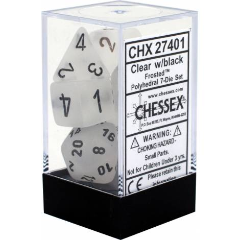 CHESSEX Clear w/black Frosted 7 dice  (CHX27401)