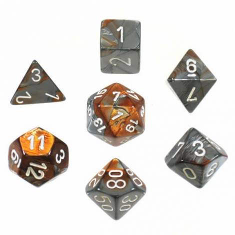 CHESSEX Copper-Steel/White 7 dice (CHX26424)