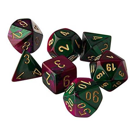 CHESSEX  Green-Purple/Gold  Gemini 7 dice  (CHX26434)