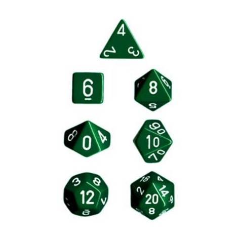 CHESSEX Opague Green-white 7 dice (CHX25405)