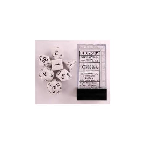 CHESSEX Opaque White- Black 7 dice (CHX25401)