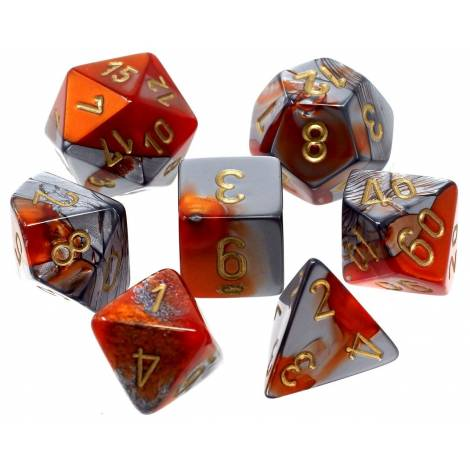 CHESSEX  Orange-Steel-Gold  (7 Dice Set)  (CHX26461)