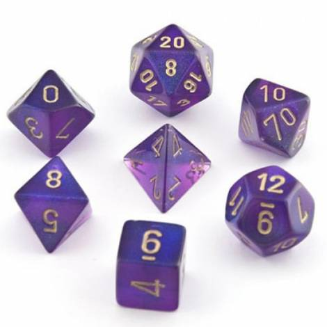 CHESSEX Purple - Gold 7 Dice Set(CHX27467)