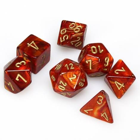 CHESSEX  Scarlet w/gold Scarab 7 dice  (CHX27414)