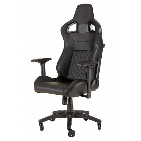 Corsair T1 Race 2018 Gaming High Back Desk and Office Chair, Faux Leather, Black/Black, 134 x 58 x 58 cm , CF-9010011-WW