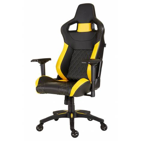 Corsair T1 Race 2018 Gaming High Back Desk and Office Chair, Faux Leather, Black/Yellow, 134 x 58 x 58 cm , CF-9010015-WW