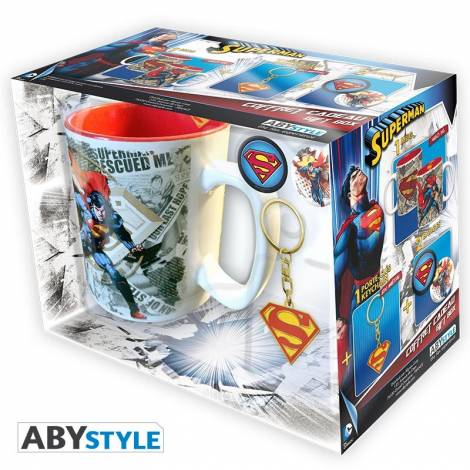 DC COMICS: SUPERMAN - 460ml MUG + KEYCHAIN + 2 BADGES GIFT BOX (ABYPCK074)