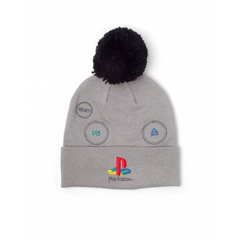Difuzed PlayStation - Silver Logo with Pompon Beanie (KC627138SNY)