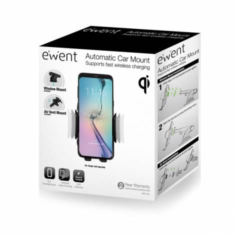 Ewent Automatic Car Mount & Wireless Charger for smartphone with qi (EW1191)