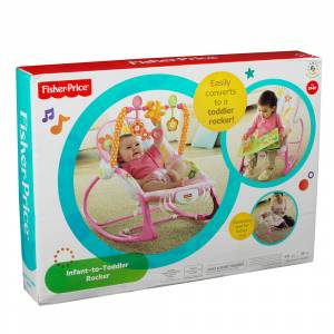 FISHER PRICE - INFANT -TO- TODDLER PORTABLE ROCKER PINK (Y8184)
