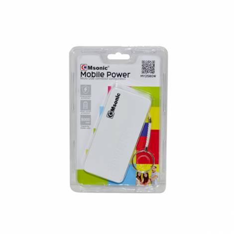 Φορητός Φορτιστής Msonic 5000mA Power Bank άσπρο (my2580w)