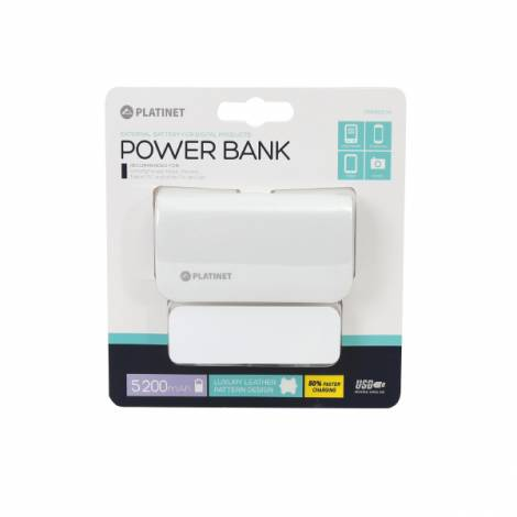 Φορητός Φορτιστής Platinet δερμάτινος 5200mA + micro USB καλώδιο Power Bank άσπρο PMPB52LW