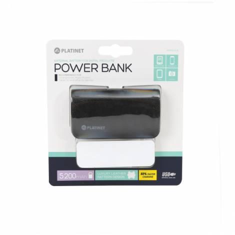 Φορητός Φορτιστής Platinet δερμάτινος 5200mA + micro USB καλώδιο Power Bank μαύρο PMPB52LB