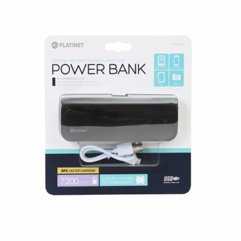Φορητός Φορτιστής Platinet δερμάτινος 7200mA + micro USB καλώδιο Power Bank μαύρο PMPB72LB
