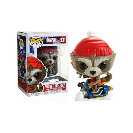 Funko POP. Bobble Marvel: Holiday-Rocket Collectible Figure