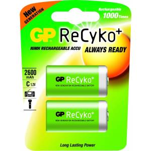 GP RECHARGEABLE RECYKO+ NiMh 2600mAh C- 2 PACK - GP260CHB-2UC2