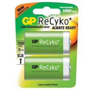 GP RECHARGEABLE RECYKO+ NiMh 2600mAh D - 2 PACK - GP455