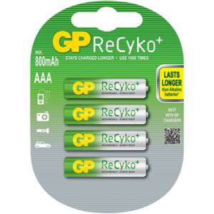 GP RECHARGEABLE RECYKO+ NiMh 800mAh AAA - 4 PACK