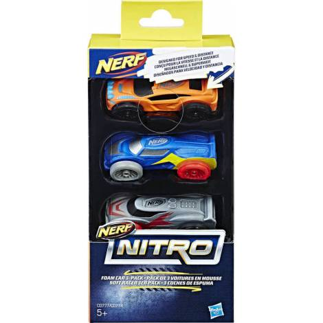 Hasbro Nerf Nitro Foam Car 3-Pack (Army Camo-Yellow-Red) (C0779)