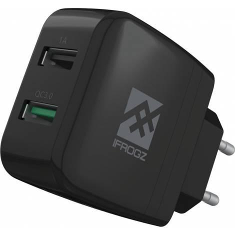 iFrogz UniqueSync Διπλός USB Φορτιστής Σπιτιού 3Α & 1Α με Qualcomm Quick Charge 3.0 - Black (309901164)