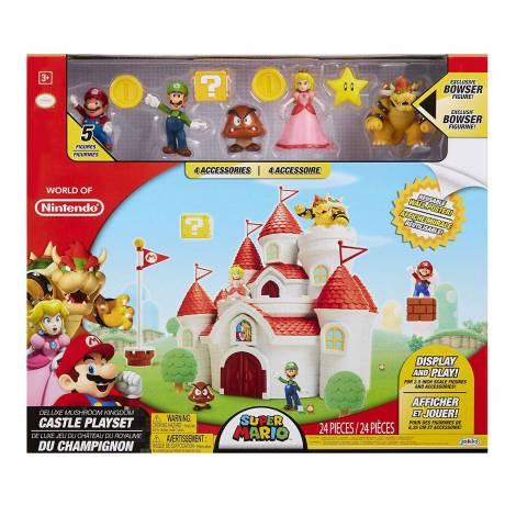 Jakks - Deluxe Mushroom Kingdom Castle & 5 Figures (Mario, Luigi , Bowser , Goomba , Peach)