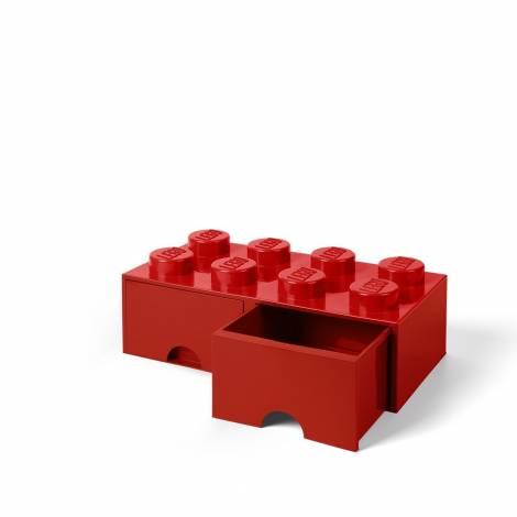 LEGO Storage Brick 8 Drawer Red (12.5 x 12.5 x 18 cm)