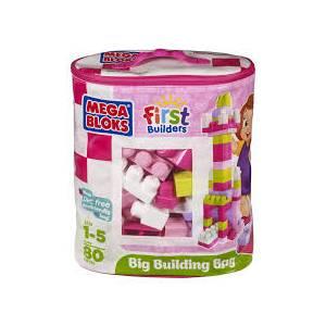 MEGA BLOKS FIRST BUILDERS - BLOCKS WITH BAG (80pcs) PINK (DCH62)