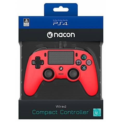 Nacon Wired Compact Controller Color Edition - Red (PS4)