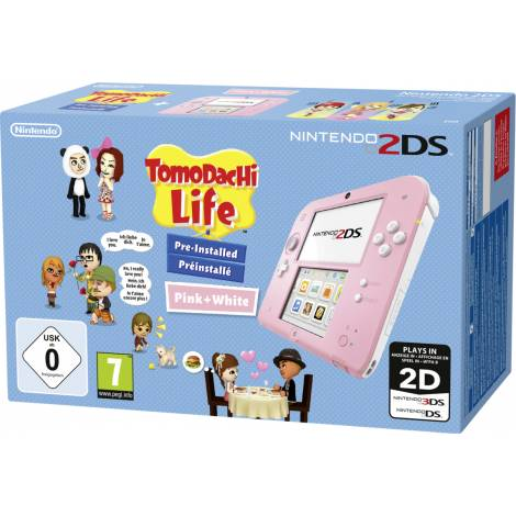 Nintendo 2DS Console Pink And White & Tomodachi Life (NINTENDO 2DS)