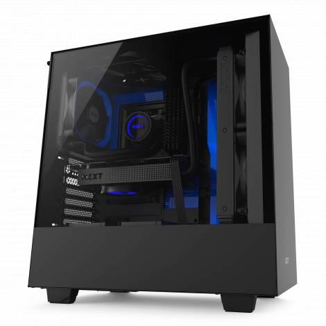 NZXT H500 Matte Black/Blue - Tempered Glass