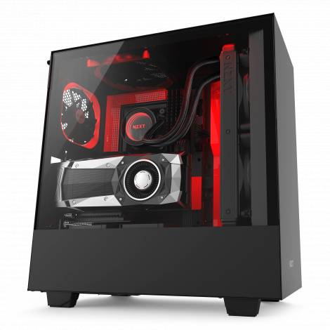 NZXT H500i Matte Black/Red - Tempered Glass - RGB-Smart Device