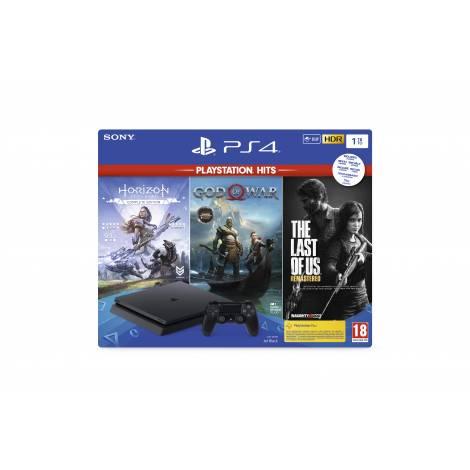 PlayStation 4 1ΤΒ F Chassis &  GOW/HZD/TLOU (με ελληνικούς υπότιτλους & menu)