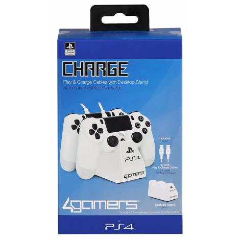 Playstation 4 Officially Licensed Dual Controller Stand with Twin USB Charging Cables white (PS4)