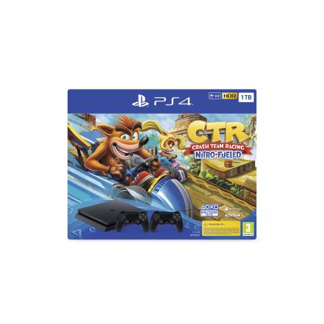 PlayStation®4 1ΤΒ F Chassis + Crash Team Racing™ Nitro-Fueled + 2nd DS4