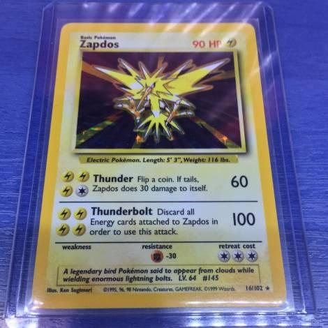Pokemon ! Zapdos 16/102 Holo Rare Base Set