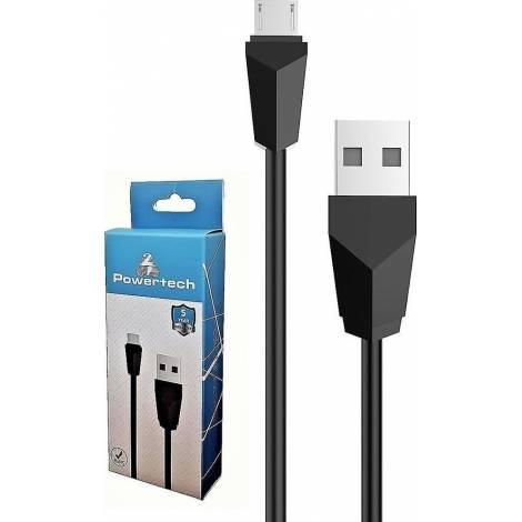 Powertech Regular USB 2.0 to micro USB Cable Μαύρο 1m (CAB-U081)