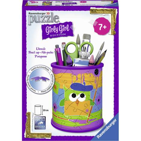 Ravensburger - 3D Puzzle 54 pcs Pencil Cup Owl - Girly Girl Edition (80183)