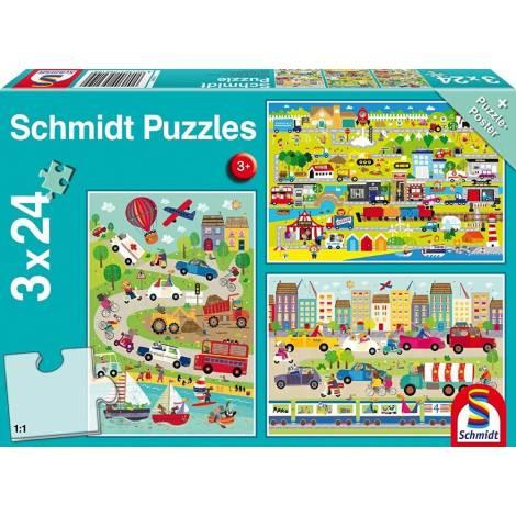 Schmidt - Χρωματιστά οχήματα Puzzle (3x24st) (56219)